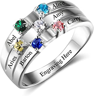 Diamondido Personalized Mothers Rings with Simulated Birthstones Engraved Names Family Jewelry