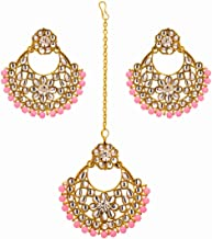 Traditional Bollywood Indian Wedding Bridal Pakistani Pink Maang Tikka Head Chain Jewelry with Earrings Set