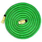 Tubo flessibile da giardino | prolungato 15 m | tubo flessibile per acqua con tripla anima in lattice | tubo flessibile estensibile | tutti i collegamenti a vite in ottone di alta qualità (verde)