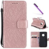 Moto G5 Plus Case,LEECOCO Embossed Floral Pattern Wallet Case with Card/Cash Slots [Kickstand] Premium PU Leather Flip Stand Case Cover for Motorola Moto G5 Plus 2017 Mandala Rose Gold