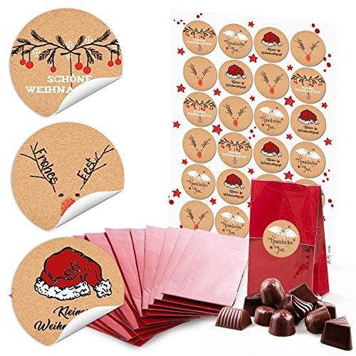 24 rote kleine Kekstüten mit Boden Weihnachten Papiertüten (7 x 4 x 20,5 cm) + 24 runde Aufkleber 4 cm schwarz-rot-weiß (14126) kleine Weihnachts-Geschenke Verpackung, give-aways