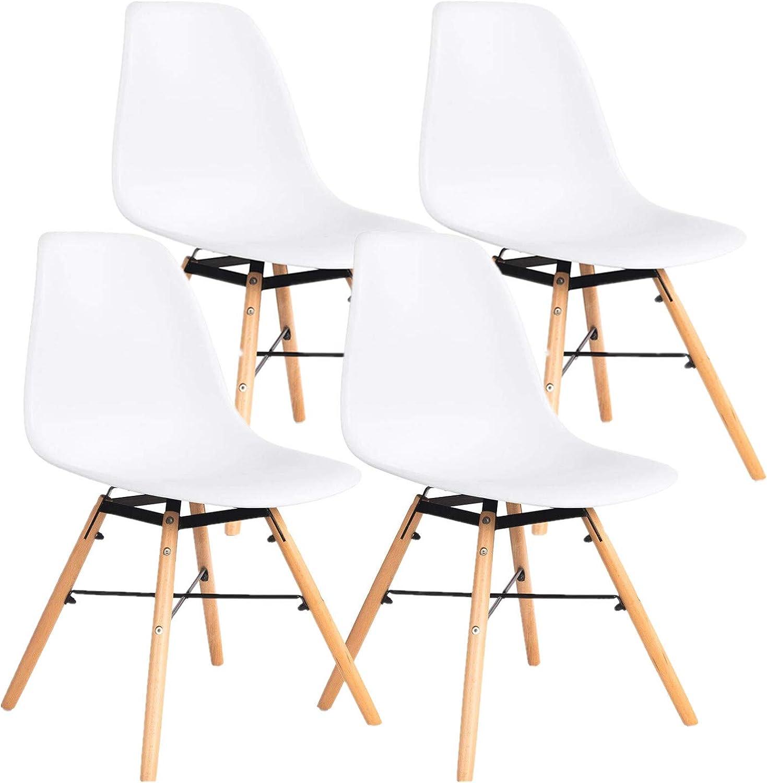 Ellexir Esszimmerstuhl 2 4 6er Set Modern Bürostuhl Kunststoff Stuhl (Wei, 4)