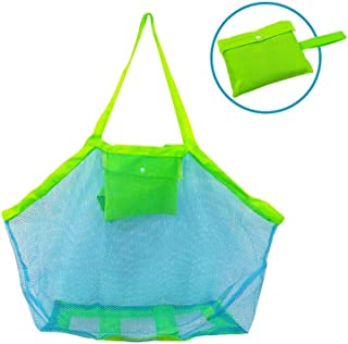 Bornfeel Bolsa de Juguetes Playa Bolsa de Malla para Niños Guardar los Juguetes Bolas Conchas Verde 45 x 30 x 45cm (18 x 12 x 18in).