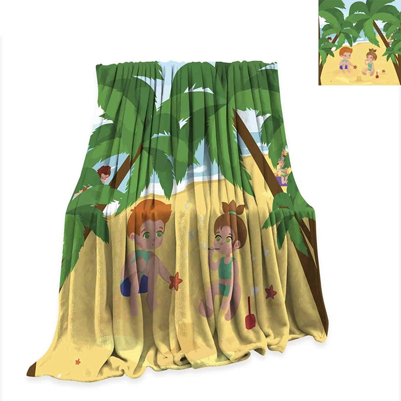 Anniutwo Flannel Throw Blanket Fun at Beach Happy Kids plaing Sand Around Water 60 x50