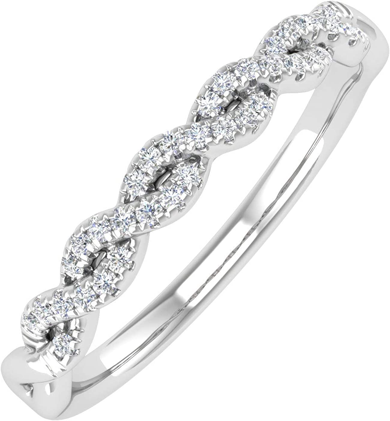 1/10 Carat Twisted Diamond Wedding Band Ring in 10K Solid Gold - IGI Certified