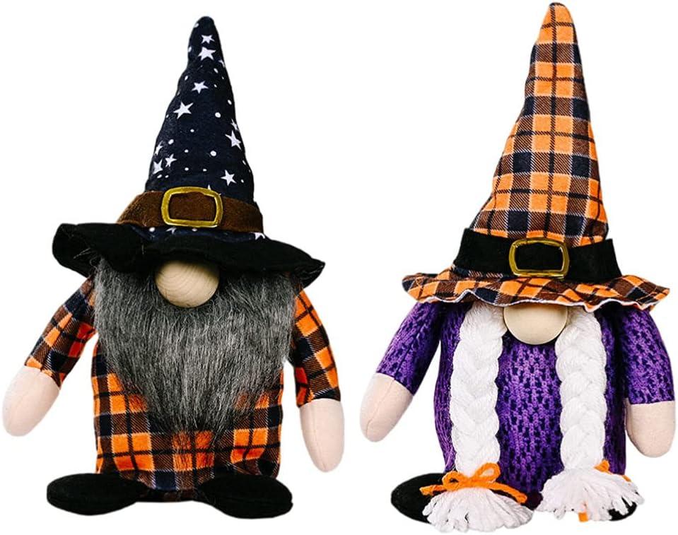 HEALLILY Large discharge sale 2pcs Halloween Gnome Max 78% OFF Orange Doll Plaid Elf Handma Dwarf
