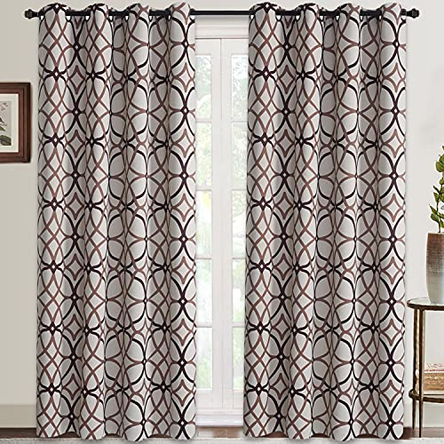 RHF Room Darkening Curtains 84 Inch Length Grommet Blackout Curtains Drapes for Living Room Taupe and Brown Geo Pattern 52 inch Width by 84 inch Length-Set of 2 Panels