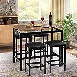 Bartisch Set, Küche Pub Tisch und 4 Barhocker, 5-teiliges Frühstücksbar Set Esstisch Set für Küche Wohnzimmer Esszimmer Stabiler Metallrahmen Industrie Rustikal Braun