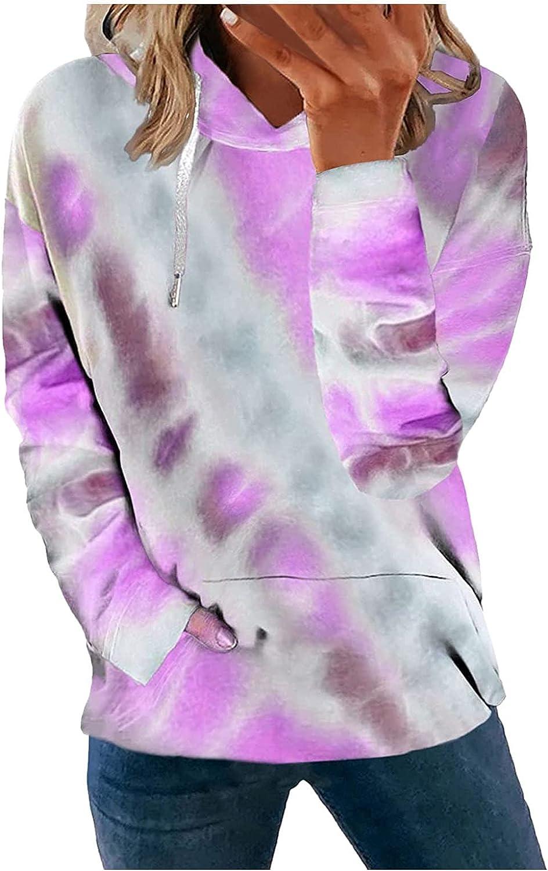 WOCACHI Women's Color Block Hooded Sweatshirts Tie Dye Drawstring Long Sleeve Hoodie Tops Pullover with Pocket