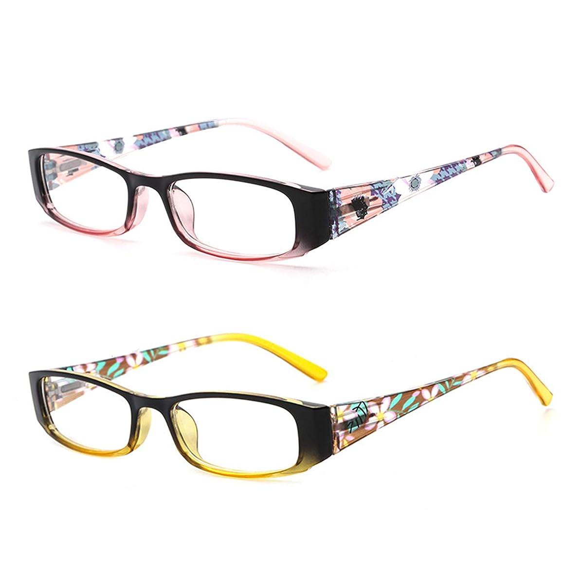 HUYAOPT Blue Light Blocking 2 Pair Glasses Spring Hinges UV Protection Computer Glasses for Women/Men, Prevent Eye Fatigue. (3.5 X)