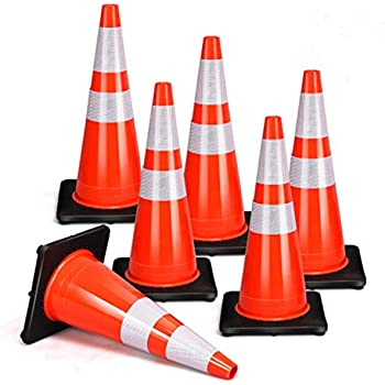 "36/"" Orange PVC Safety Traffic Cones Black Base Two Reflective Collars"