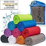 Cooling Towel für Sport & Fitness, Mikrofaser Handtuch/Kühltuch als kühlendes Handtuch für Laufen, Trekking, Reise & Yoga, Cooling Towel, Farbe: grau-roter Rand, Größe: 120x35cm