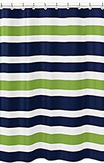 Crystal Emotion Navy Blue, Lime Green and White Kids Bathroom Fabric Bath Stripes Shower Curtain,72x72inch