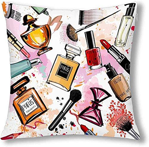 Girly Aquarell-Kosmetik-Parfüm, Lippenstift, Nagellack, Pinsel, Kissenhülle aus Baumwolle und Leinen, mit Reißverschluss, dekorativer Kissenbezug, Heimdekoration, baumwolle, multi, 41 x 41 cm
