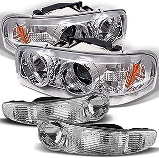 Xtune for 2000-2006 GMC Sierra/Yukon Denali Halo Projector Headlights w/LED + Bumper Lights 2001 2002 2003 2004 2005