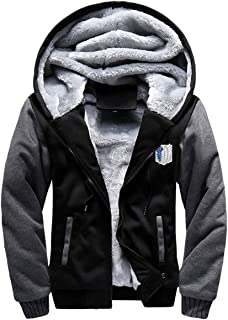 ELEFINE Boys Men's Fleece Thick Hoodies Attack On Titan Cosplay Corps Zip Jacket