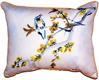 "Betsy Drake SN521 Bird & Forsythia Pillow,11"" X14"""