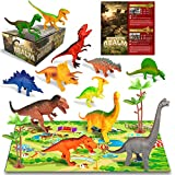 Dinosaur Toys for 6 5 4 3 Year Old Boys Girls Kids , 12pcs Large Plastic Dinosaurs Figures – T Rex , Triceratops , Brachiosaurus, Stegosaurus , Ankylosaurus Trex Toy Figurines Gifts Set , Dino Guide