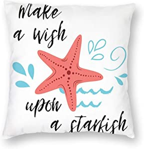niBBuns Pillow Covers Cursive Lettering Make A Wish Upon A Starfish Decorative Throw Pillow Case Cushion Cover Home Décor Sofa Decorative Pillow 18 x 18 inch