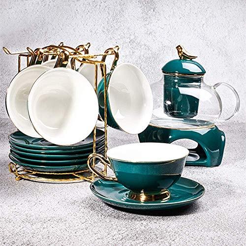 n.g. Wohnzimmerzubehör Teeservice 13-teilig Nachmittagstee Trinkgeschirr Kaffeeservice Kaffee- und Teeservice aus glasiertem Porzellan im europäischen Stil mit 6-teiligen Tassen Tassen- und