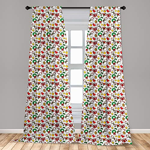 Lunarable Christmas Window Curtains, Classical Inspirational Wreath with Candy Cane Snowman Patterns Feast Theme, Lightweight Decorative Panels Set of 2 with Rod Pocket, 56' x 63', White Red