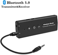 Bluetooth 5.0 Audio Transmitter Receiver, Goojodoq 3 in 1 Portable Bluetooth Adapter, Built-in 300mAh Battery Transmitter and Receiver for PC TV, Wired Speaker and Headphones, Car Stereo Sound System