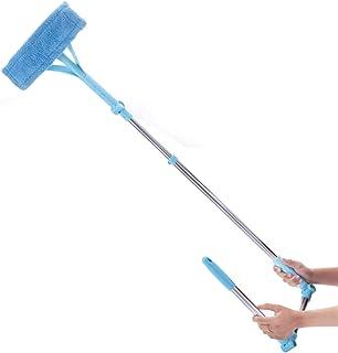 シャワーウィンドウスキーギー ガラス窓をきれいにするための補助ポールが付いている多機能伸縮棒両面窓洗浄剤 浴室スクレーパー (Color : Blue, Size : One size)