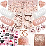 35th Birthday Decorations with Photo Props, 35 birthday decorations for women, 35 balloon numbers, 35th birthday gifts women, gift for wife birthday 35 balloon cake topper party supplies photo props