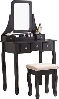 Nolany Vanity Table with Stool Set Makeup Vanity Set with 5 Drawers Mirror Bedroom Black Makeup Vanity Table Set