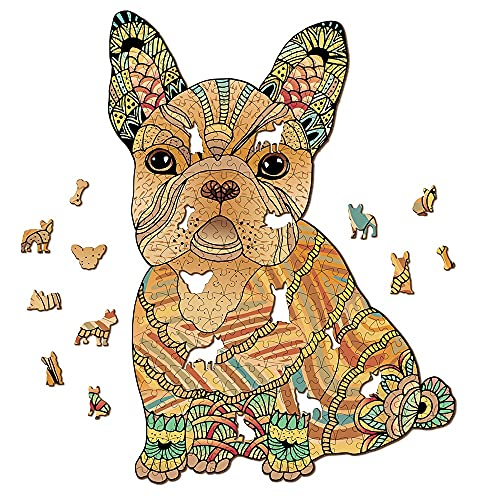 French Bulldog Dog Wooden Jigsaw Puzzle 293 Pieces, 12.7 x 17.3 in (32.3 x 44 cm) with Unique Shapes for Adults & Kids by WoodGalaxy