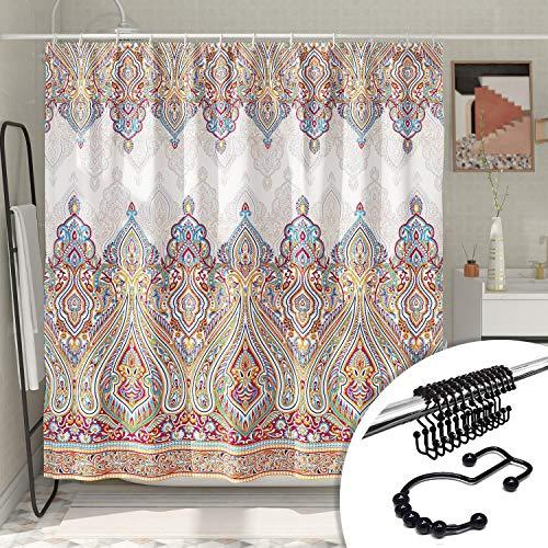 DESIHOM Colorful Paisley Shower Curtain Beautiful Bohemian Theme Damask Shower Curtain Boho Shower Curtain Polyester Waterproof Shower Curtain 72X72 Inch with 12 Metal Shower Hooks