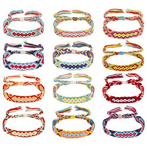 Yumi V Friendship Bracelets, 12pcs Handmade Woven Bracelets Ankle Bracelets for Women DTY Colorful Braid Cords Strand Bracelet Jewelry Making Set Adjustable for Wrist Ankle (Random color)
