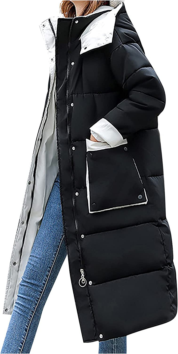 Women's Winter Color block Down Coats Hooded Zipper Puffer Jacket With Pockets Quilted Long OverCoat Casual Lightweight
