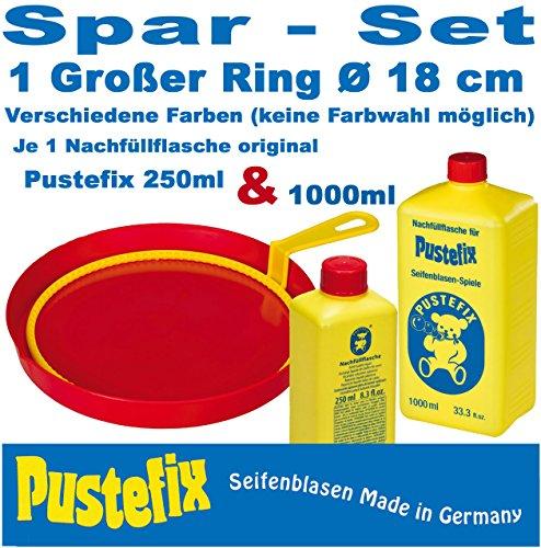 Pustefix Seifenblasen Set (Großer Ring für Riesenblasen + 1250 ml Nachfüller)
