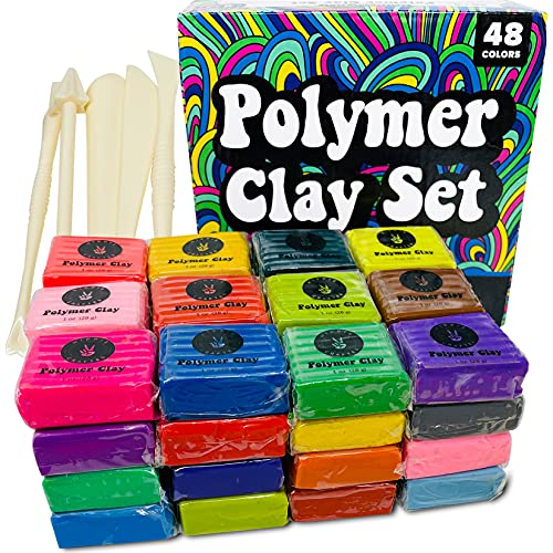 Polymer Clay Set 48 Colors Modeling Clay Sculpting and Oven Bake Kit Baking and Molding