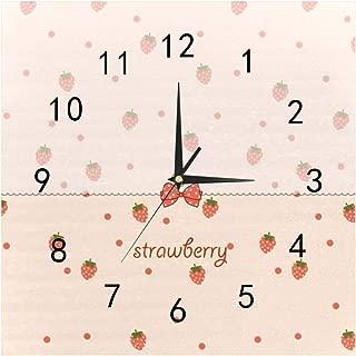 SHOP-DIY Square Wall Clock, Quality Quartz Operated for Home # Strawberry