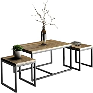 Giantex 3 Piece Nesting Coffee & End Table Set Wood Modern Living Room Furniture Decor