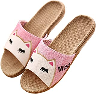 Ladies linen slippers, home floor slippers, cartoon slippers, linen, breathable sweat, foot odor, garden sandals and slippers