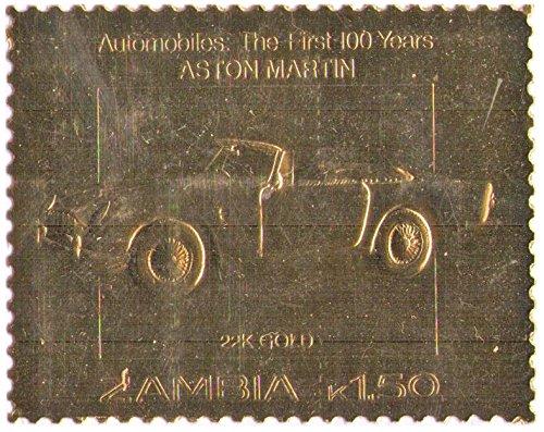 Zambia : Automobiles : i primi 100 anni - Aston Martin/foglia oro bollo/Valore nominale 1,50 K / 22K oro Folio / 1987 / Zambia/MNH