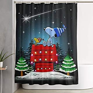 Meirdre Stylish Shower Curtain Snoopy and Woodstock Christmas Printing Waterproof Bathroom Curtain 60 X 72 Inches