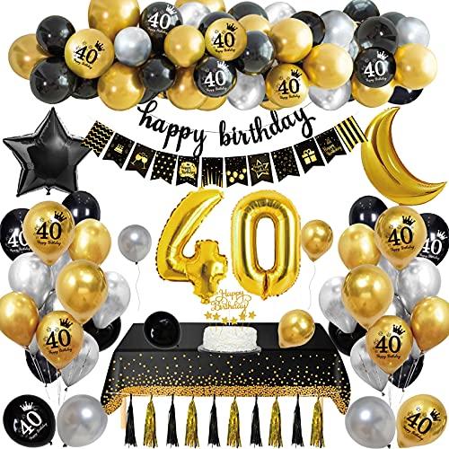 Globos Cumpleaños 40 Años Decoraciones Fiesta Oro Negro con Adorno Para Tartas Pancarta Feliz Cumpleaños Manteles Globos de Papel de Oro para Hombres y Mujeres Adultos Decoración de Fiesta