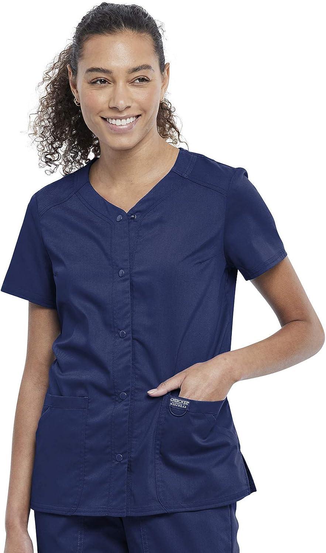 Workwear Revolution Women Scrubs Top Snap Front V-Neck WW622