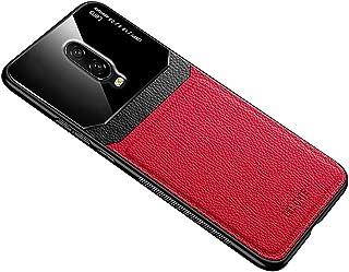لهواتف ون بلس 6T / لهواتف ون بلس 7 حافظة من الجلد الناعم غطاء سيليكون حماية زجاجي - لون أحمر