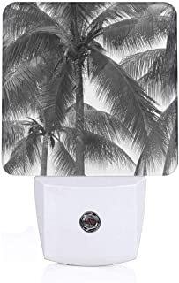 Colorful Plug in Night,Palm Tree Silhouette Exotic Plant On Dark Thema Foliages Relax in Nature Image,Auto Sensor LED Dusk to Dawn Night Light Plug in Indoor for Childs Adults