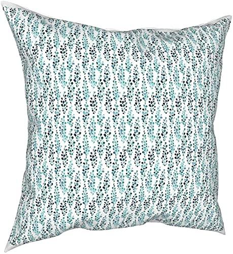 Funda de almohada cuadrada con diseño de follaje turquesa, 45 x 45 cm