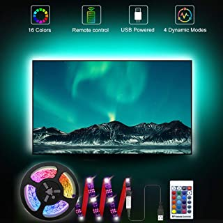 RGB LED TV Strip Backlights, 3.28ft Bias Lighting for 24`` TV, with 16 Colors and 4 Dynamic Modes Remote Controller, 5V US...