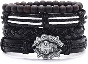 Infinity Feather Black Wood Beads Charm Handmade Woven Men Leather Bracelets Women Vintage Bangle Male Jewelry Accessories