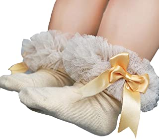 Newborn Infant Baby Girls Princess Bowknot Lace Ruffle Frilly Trim Ankle Sock