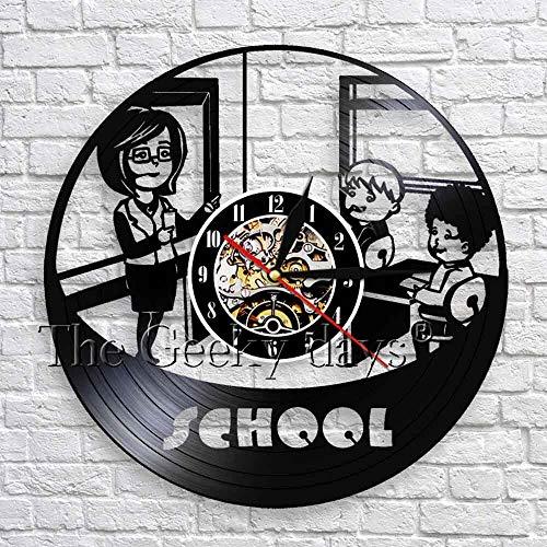 wtnhz LED-Creativo jardín de Infantes Escuela crianza de los Hijos Colgante de Pared Arte decoración Reloj Colgante de Pared Maestro y Estudiante Silueta Vinilo 3D Reloj de Pared Moderno