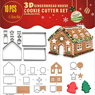 3D Christmas House Cookie Cutter Set, Bake Your Own Small Gingerbread House Kit, Chocolate House, Haunted House,Holiday Baking Set Gift Box Packaging (10+2 PCS)